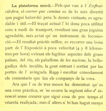La plataforma movible de l'Exposició de París. Pèl i Ploma, 1900.